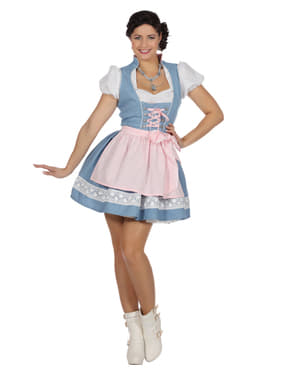 Blå tyroler Oktoberfest dirndl til kvinder
