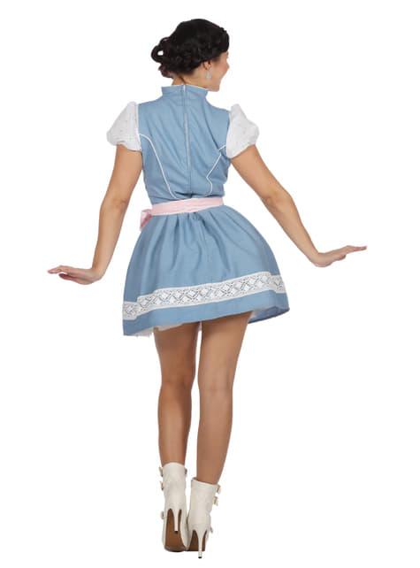 Dirndl de tirolesa azul Oktoberfest para mulher