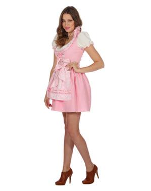 Dirndl tirolês Oktoberfest cor de rosa para mulher