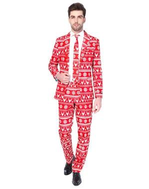 Pánský oblek Vánoční červený