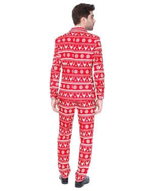 Czerwony strój Suitmeister we wzory znane ze świątecznych swetrów dla mężczyzn