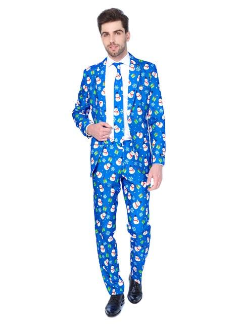 Jul Blå Snømann Suitmeister antrekk til menn