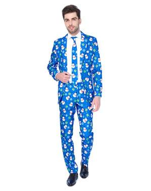 Blå jule snemand suitmeister sæt til mænd