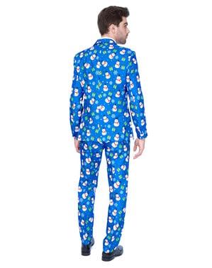 Pánský oblek Vánoční modrý sněhulák