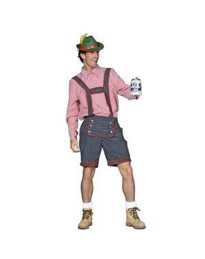 Tyrolsk Oktoberfest skjorte til menn