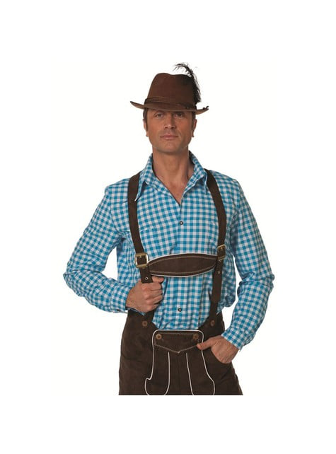 Camisa tirolesa azul Oktoberfest para hombre