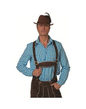 Camisa tirolesa azul Oktoberfest para homem
