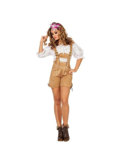 Beige Oktoberfest lederhosen for women