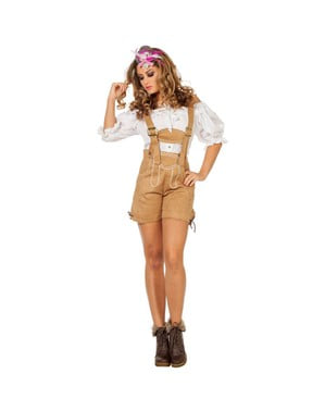 Bawarskie spodnie Lederhose beżowe damskie