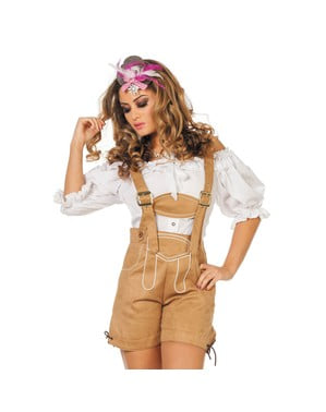 Lederhose bege Oktoberfest para mulher