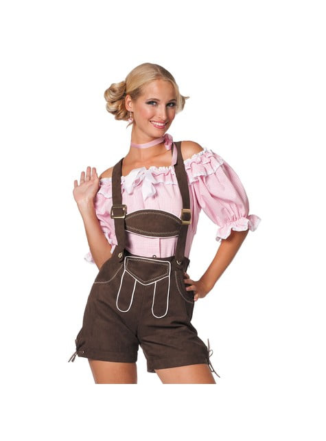 Brown Oktoberfest lederhosen for women