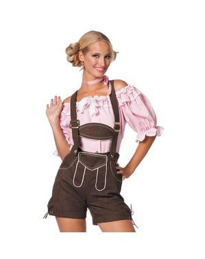 Bawarskie spodnie Lederhose brązowe damskie