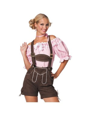Lederhose castanha Oktoberfest para mulher
