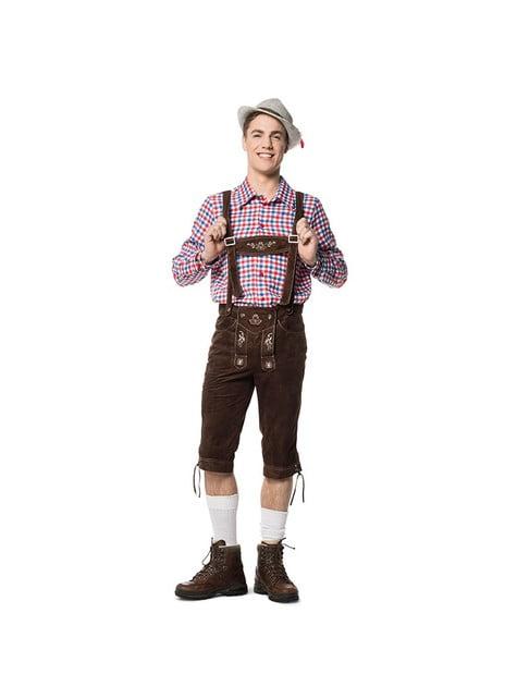 Lederhose marron chocolat homme