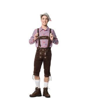 מכנסי עור חום שוקולד לגברים