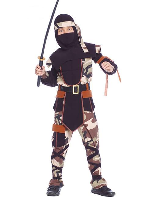 Camouflage ninja Maskeraddräkt Barn
