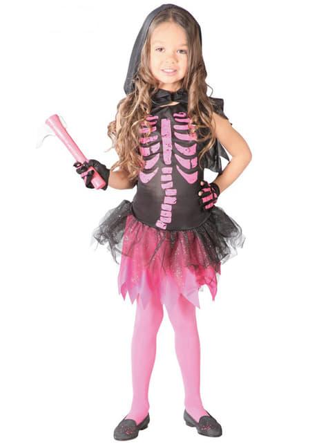 Fato de esqueleto cor-de-rosa para menina