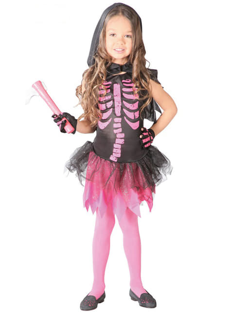 Pink skeleton costume for girls