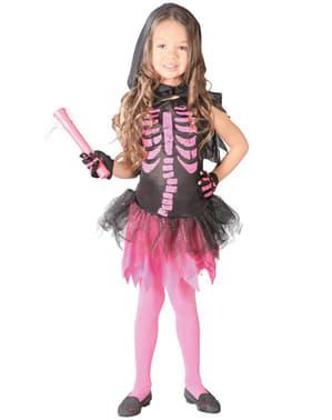 Disfraz de esqueleto rosa para niña