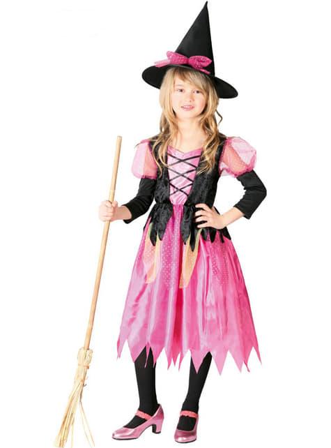 Fato de bruxa cor-de-rosa para menina