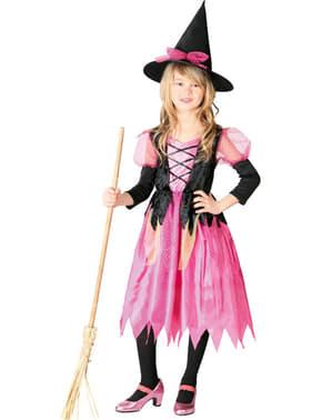 Dievčenský ružový kostým čarodejnica