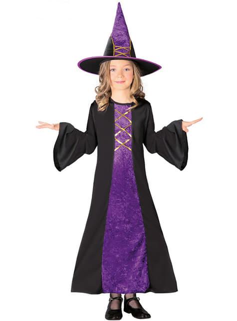 Lila Hexe Kostüm für Mädchen