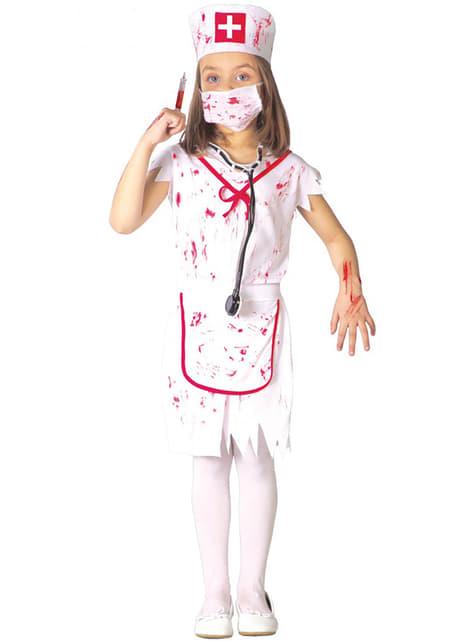 Fato de enfermeira sangrenta para menina