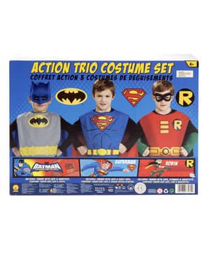 Batman, Robin og Superman sett til barn