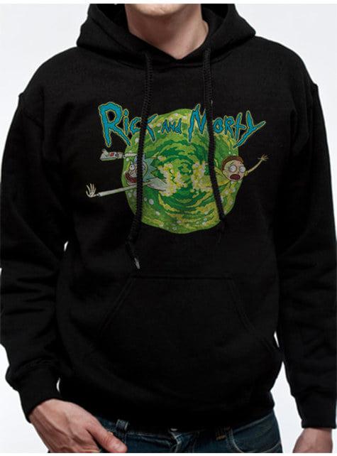 Rick & Morty Portal kapucnis fekete pulóver