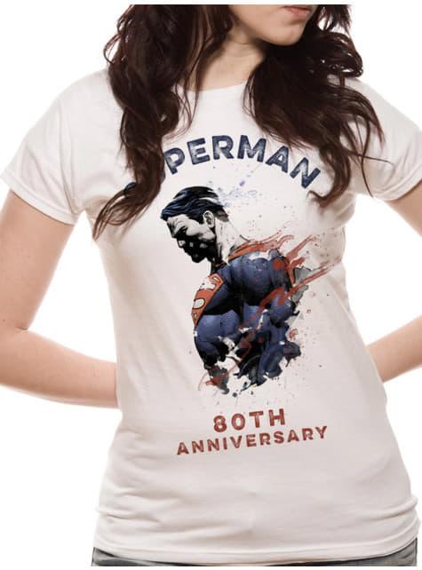 Camiseta Superman 80 Aniversario blanca para mujer