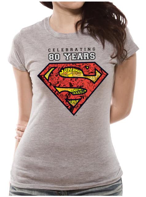 Superman  80-års jubilæum T-Shirt til kvinder i Grå