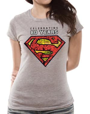 T-shirt Superman 80 Anniversaire gris femme