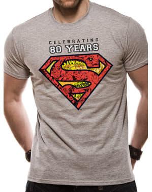 Supermand 80-års jubilæum T-shirt til mænd i grå
