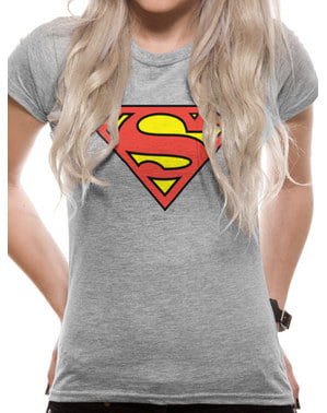 Superman Klassisk Logo T-Skjorte til Damer, Grey – DC Comics