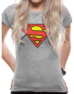 T-shirt Superman Classic Logga grå dam – DC Comics