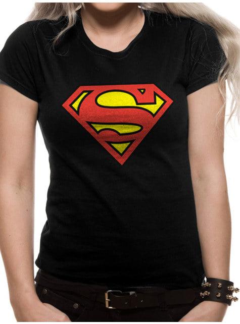 Klassisk Logo sort T-shirt til kvinder - Superman