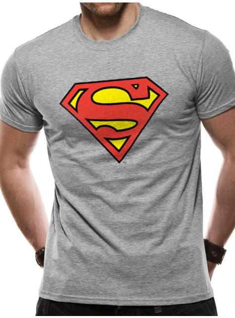 Superman Klassisk logo T-shirt til mænd, grå - DC Comics