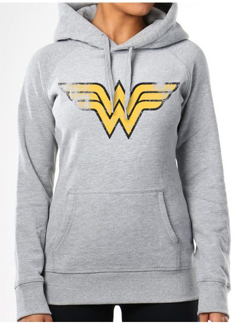 Wonder Woman Logo Hoodie for Women in Grey – DC Comics