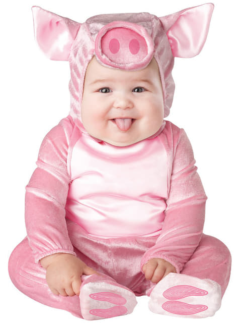 Fato de porquinho cor-de-rosa para bebé