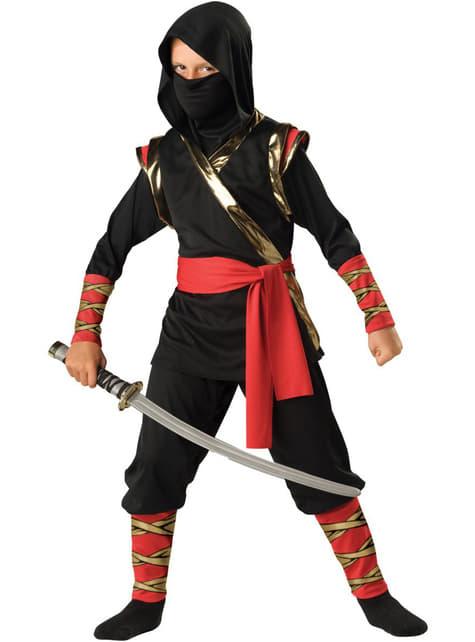 Svart ninja Deluxe Maskeraddräkt Barn