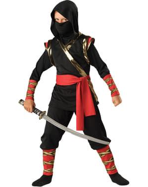 Ninja Kostüm schwarz Deluxe für Jungen