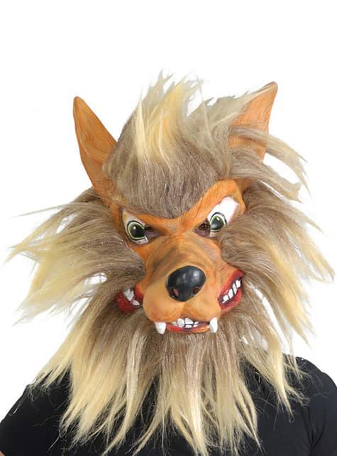 Demi-masque de loup avec cheveux