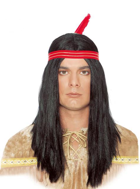 Peruca de índio e pena