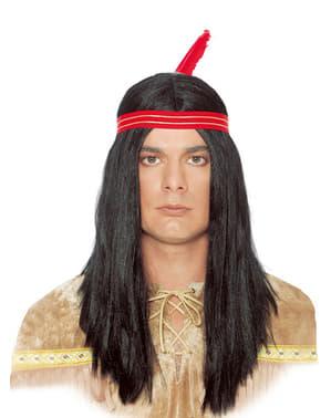 Peluca de indio y pluma