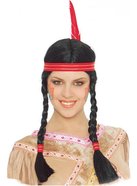 Peruka Indianina z warkoczami i piórem
