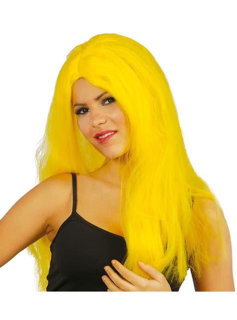 Peluca lisa de melena amarilla