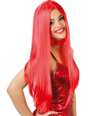 Peruk Långt rakt hår Rött