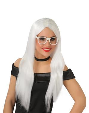 Peruca lisa de cabeleira branca