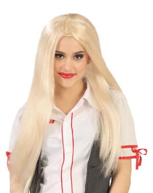 Stijle lange blonde pruik