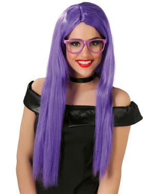 Довгий прямий фіолетовий перуку